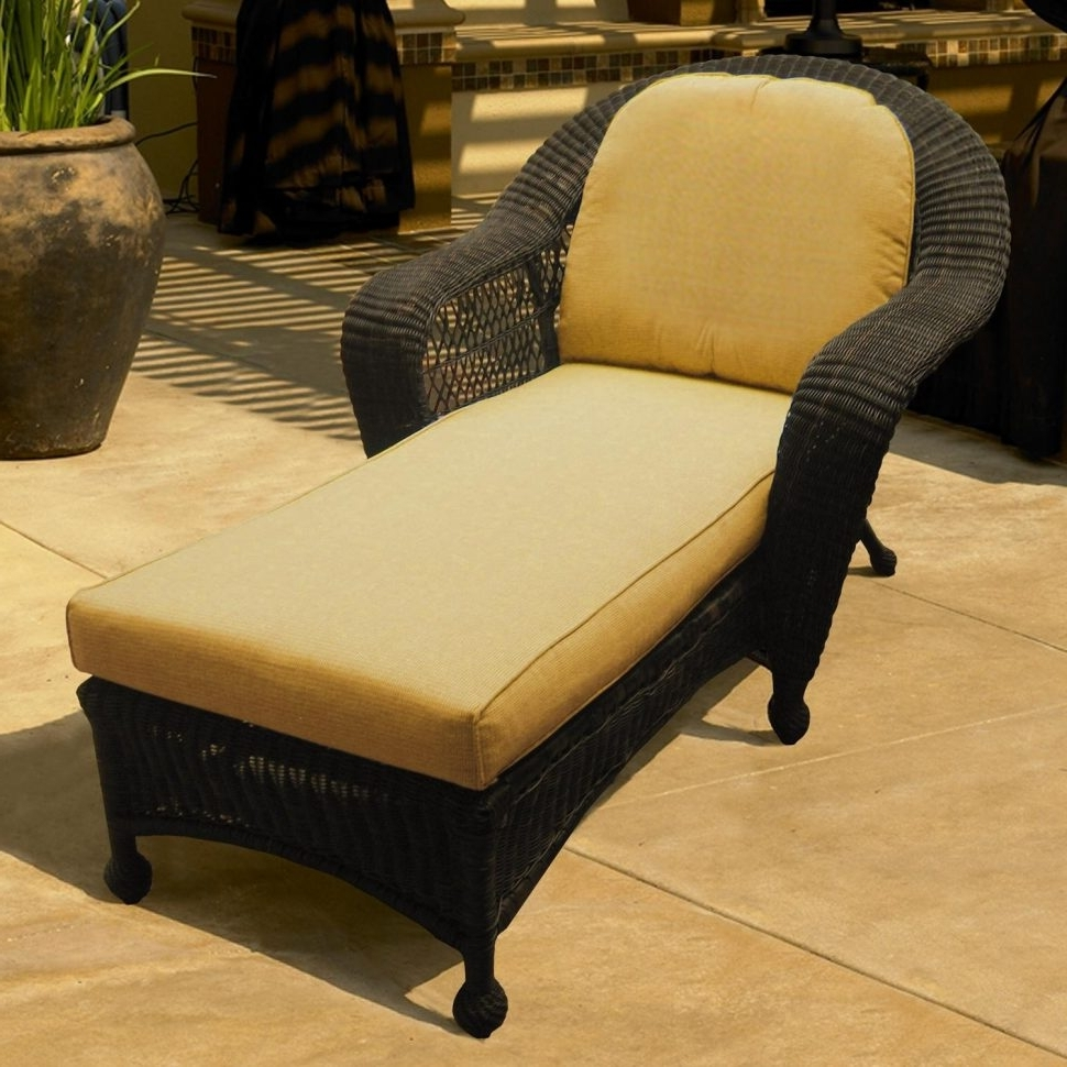 Wicker Chaise Lounges Intended For Recent Lounge Chair : Chaise Lounge With Cushions Wicker Armchair Outdoor (View 12 of 15)