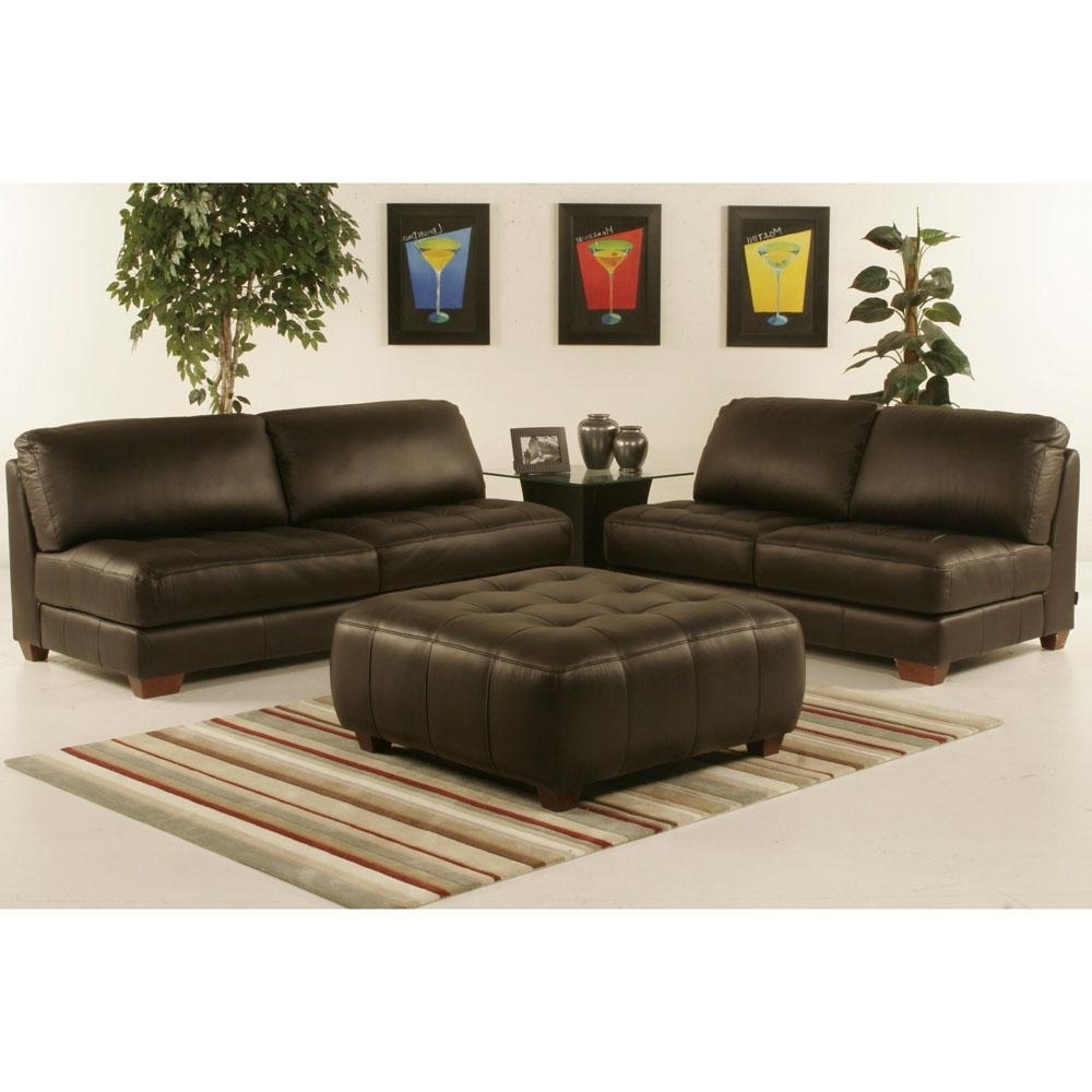 Widely Used Armless All Leather Tufted Seat Sofa And Loveseat With Ottoman Inside Loveseats With Ottoman (View 15 of 15)
