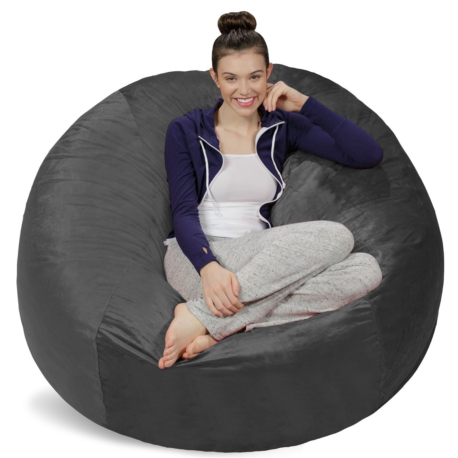 Widely Used Bean Bag Sofas And Chairs Inside Amazon: Sofa Sack – Bean Bags Bean Bag Chair, 5 Feet, Charcoal (View 6 of 15)