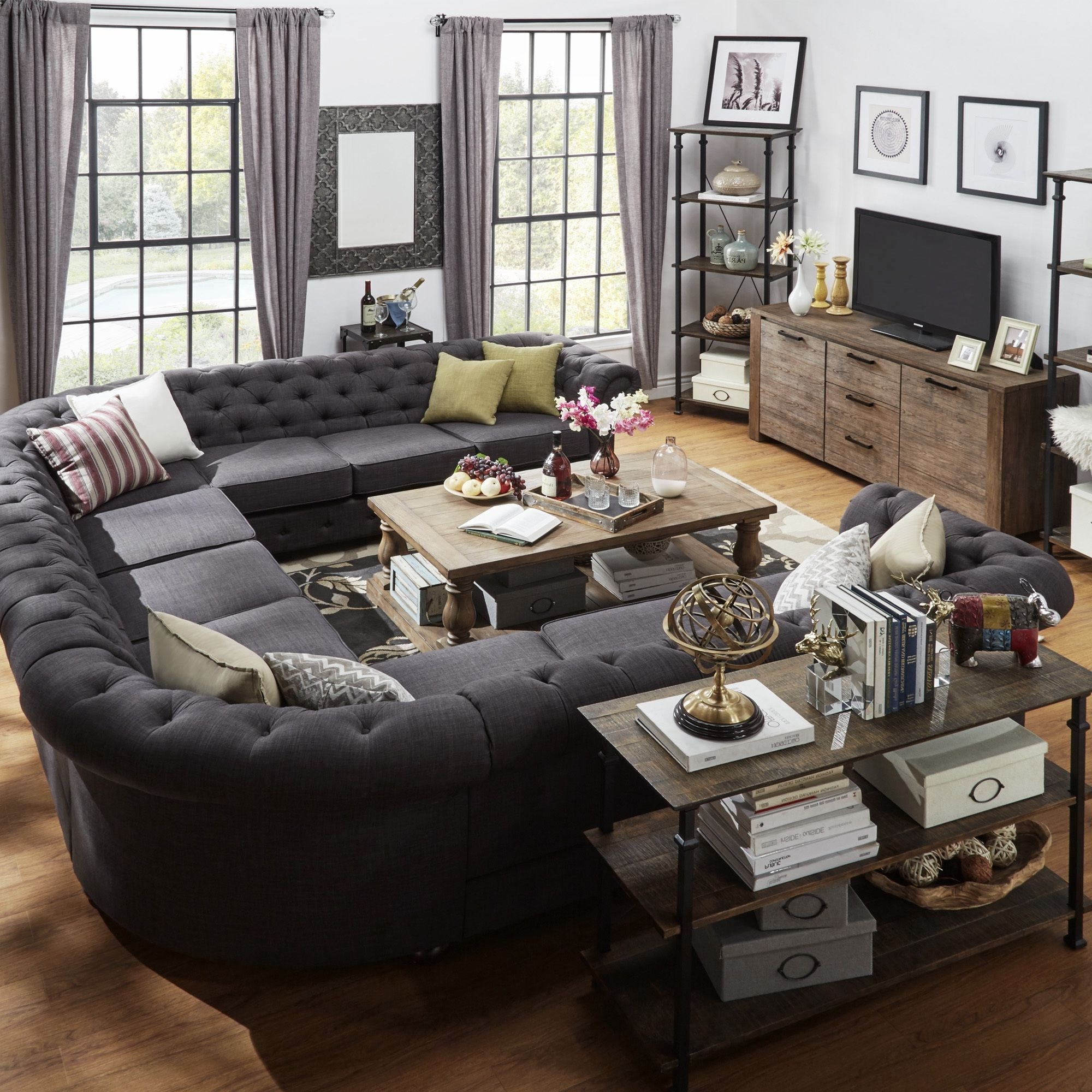 Widely Used Big U Shaped Sectionals In Signal Hills Knightsbridge Tufted Scroll Arm Chesterfield 11 Seat (View 5 of 15)