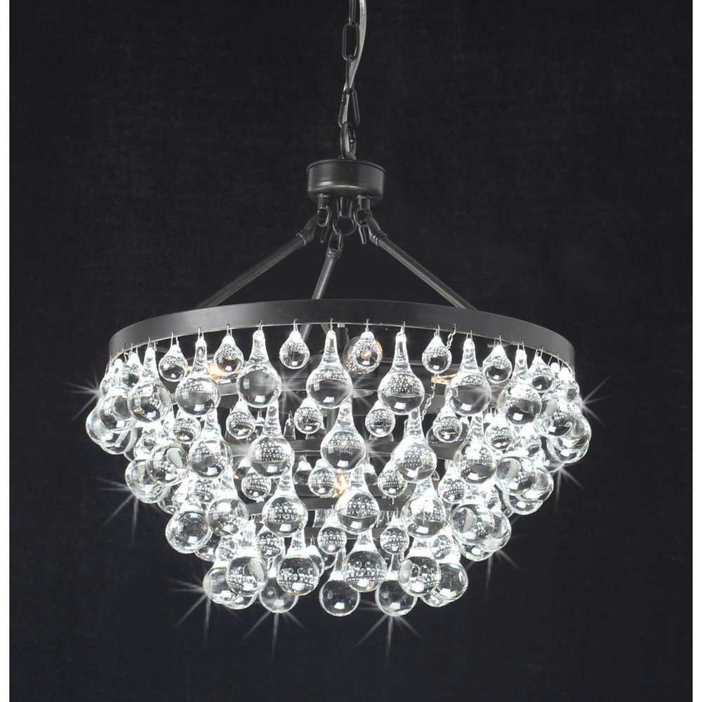 Widely Used Black Glass Chandelier Throughout Antique Black 5 Light Crystal Drop Chandelier – – Amazon (View 4 of 15)