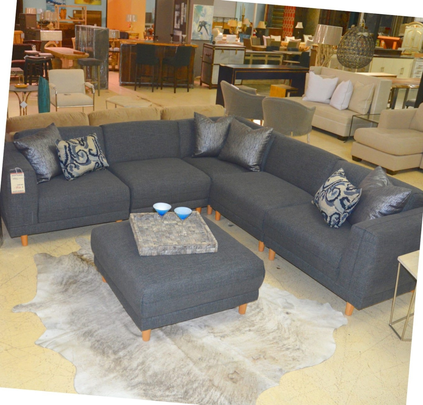 Widely Used Cheap Sectionals With Ottoman Intended For Five Piece Grey Sectional And Ottoman – Horizon Home Furniture (View 15 of 15)