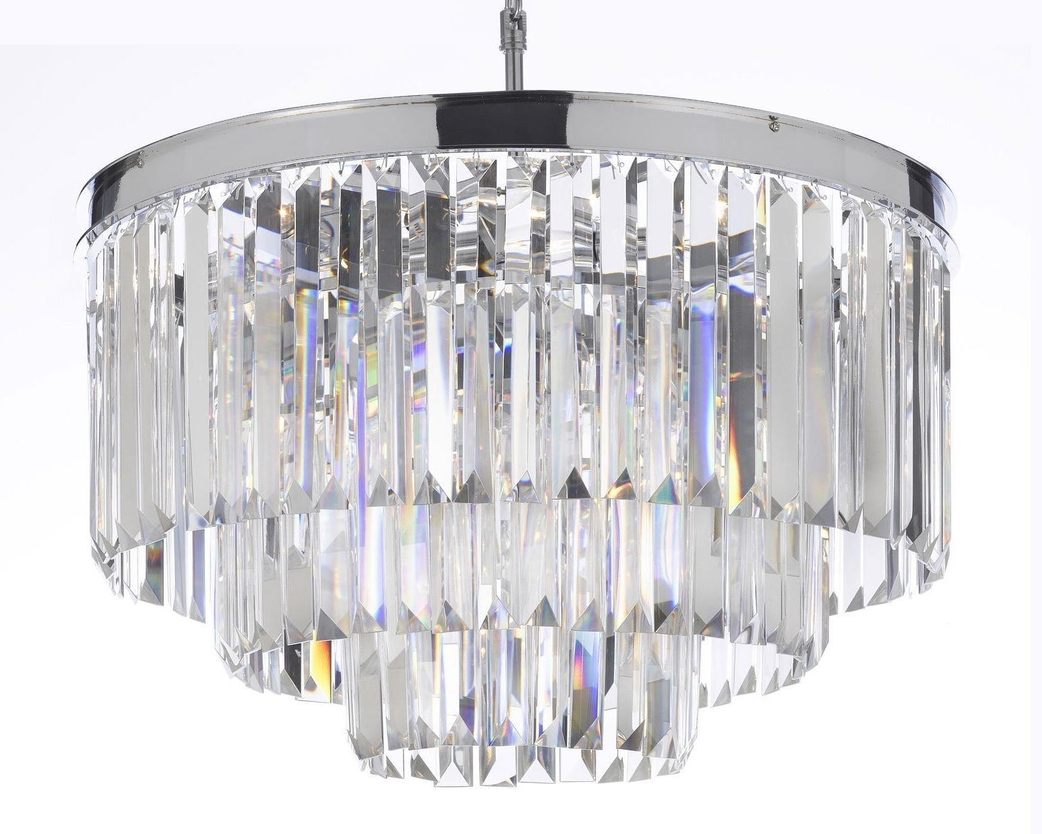 Widely Used Chrome And Glass Chandelier Pertaining To Odeon Empress Crystal (Tm) Glass Fringe 3 Tier Chandelier (View 14 of 15)