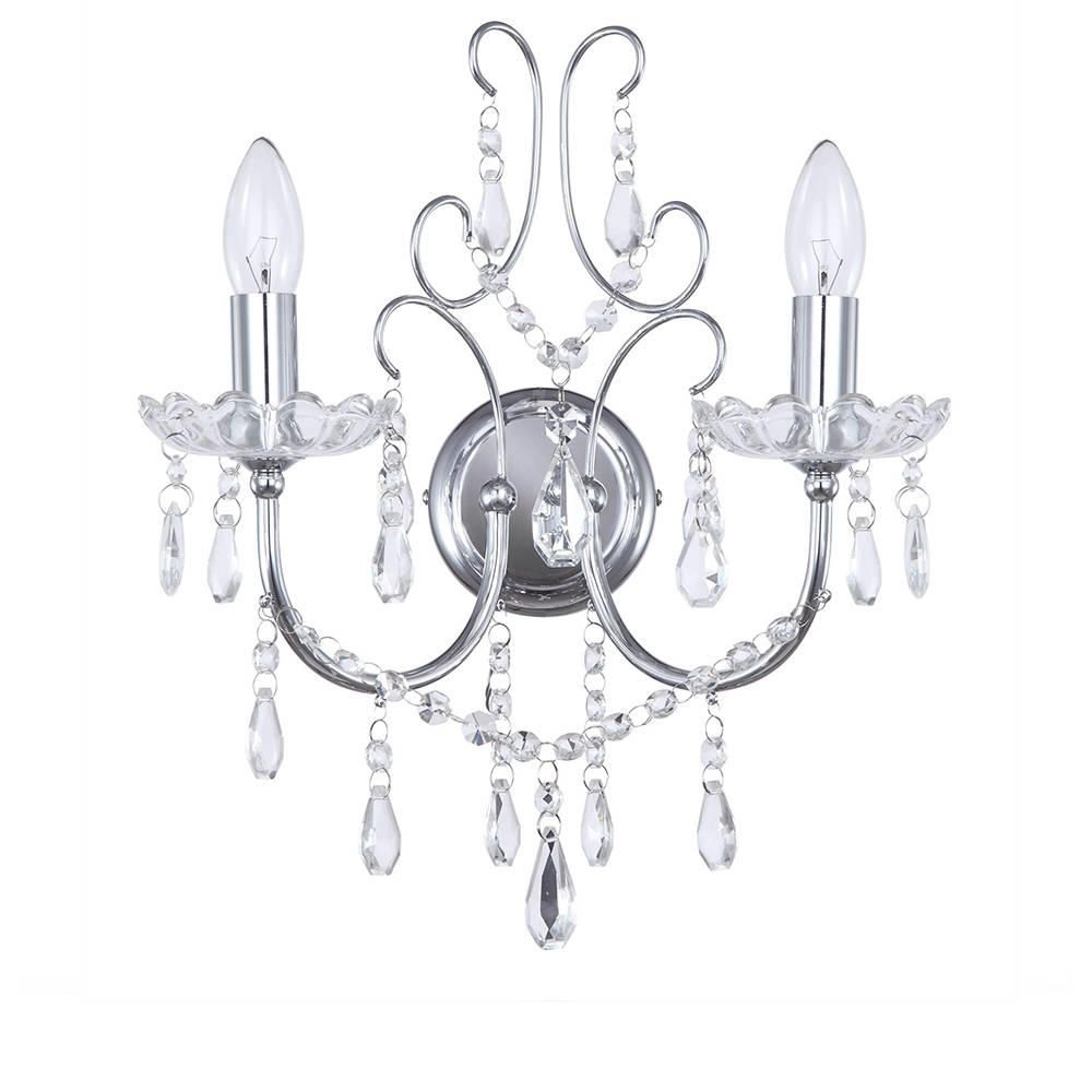 Widely Used Chrome Wall Lights Madonna 2 Light From Litecraft With Chandelier Wall Lights (View 13 of 15)