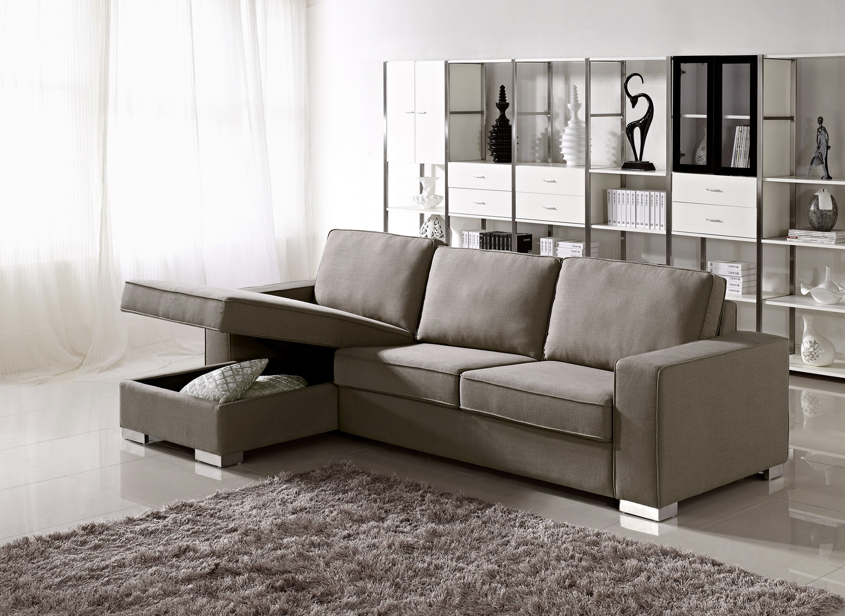Widely Used Double Chaise Loveseat Small Sectional Sofa Bed Loveseat Chaise Intended For Small Couches With Chaise Lounge (View 3 of 15)