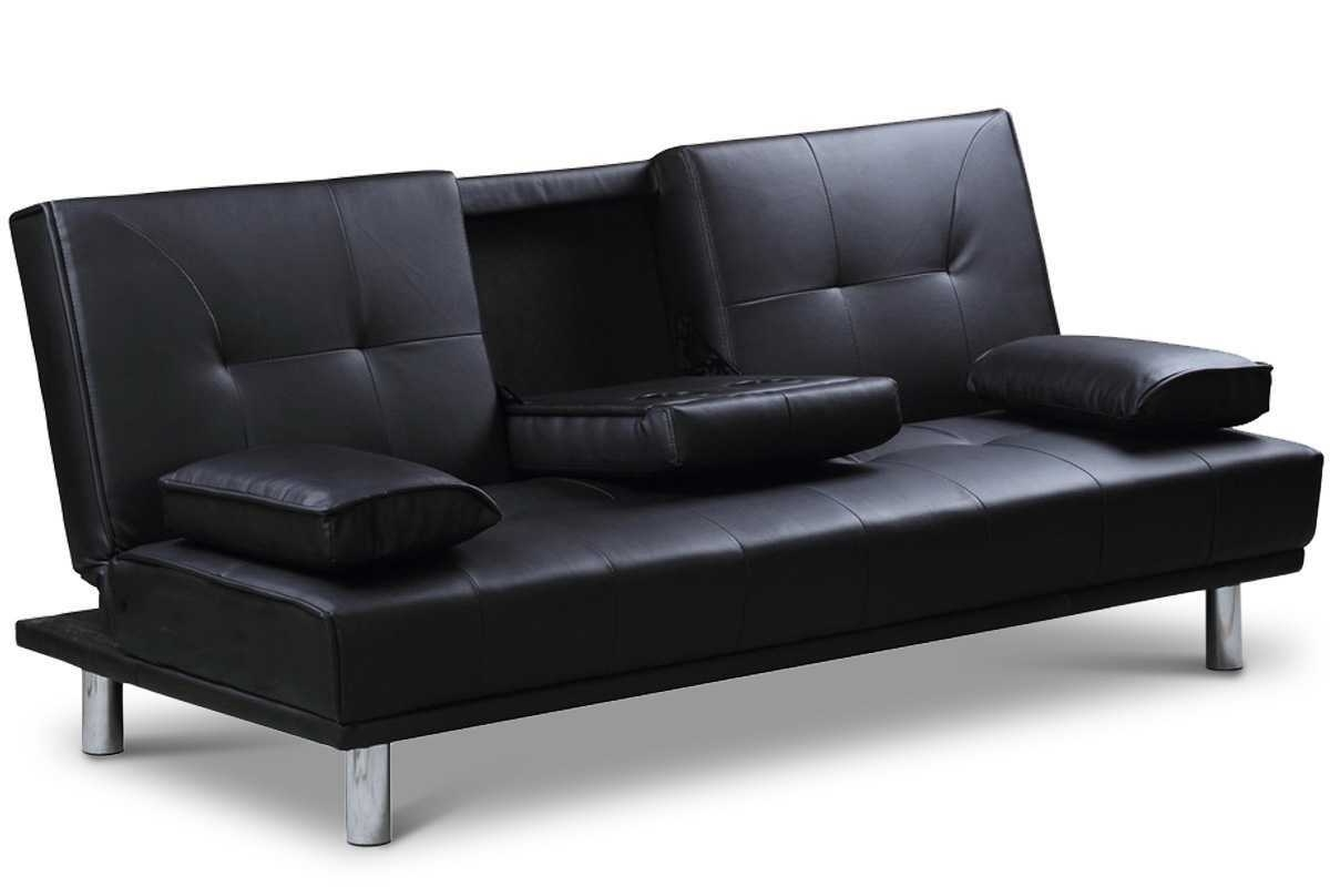 Widely Used Economax Sectional Sofas Pertaining To Black Faux Leather Sofa – Visionexchange (View 9 of 15)