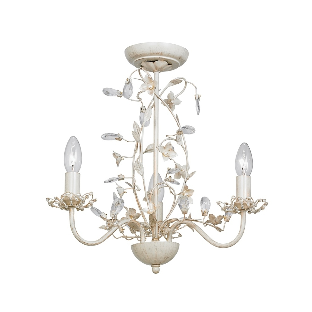 Widely Used Endon Lullaby 3Cr Lullaby Cream Gold 3 Light Flush Ceiling Light Regarding Cream Chandelier Lights (View 15 of 15)