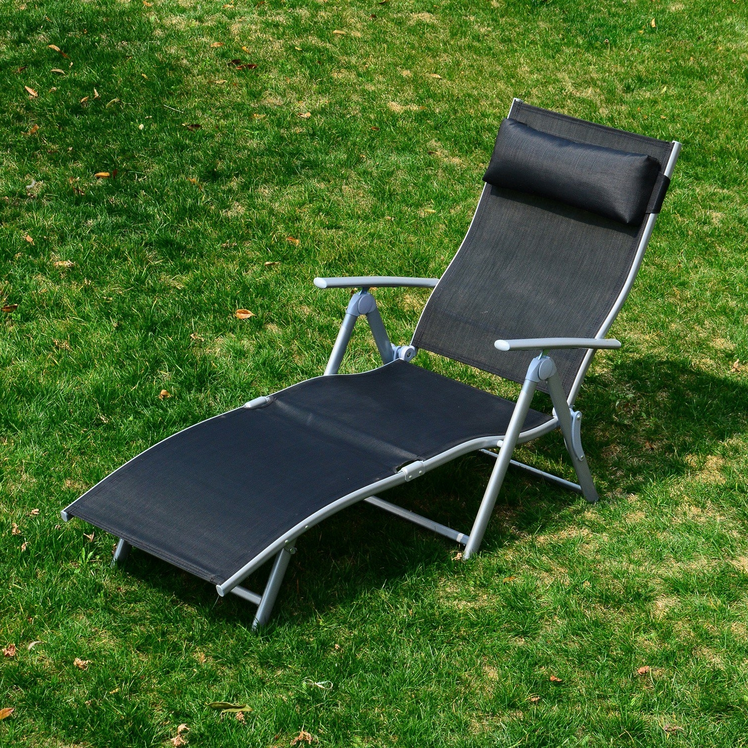 Widely Used Heavy Duty Outdoor Chaise Lounge Chairs Inside Outsunny Heavy Duty Adjustable Folding Reclining Chair Seat (View 7 of 15)