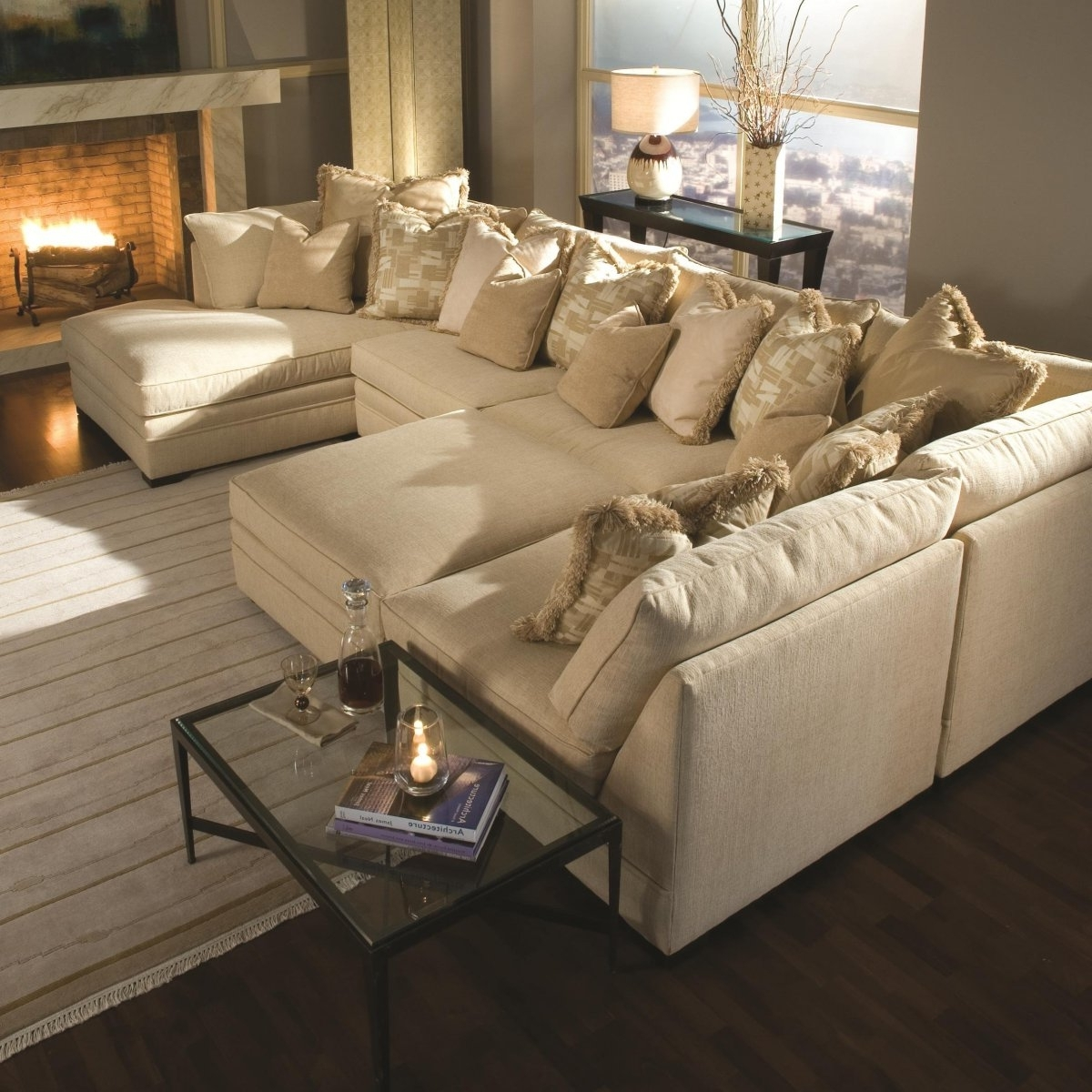 Widely Used Light Brown Sectional Fabric Sofa With Two Chaise Lounge And Piles With Regard To Chaise Lounge Sectionals (View 11 of 15)
