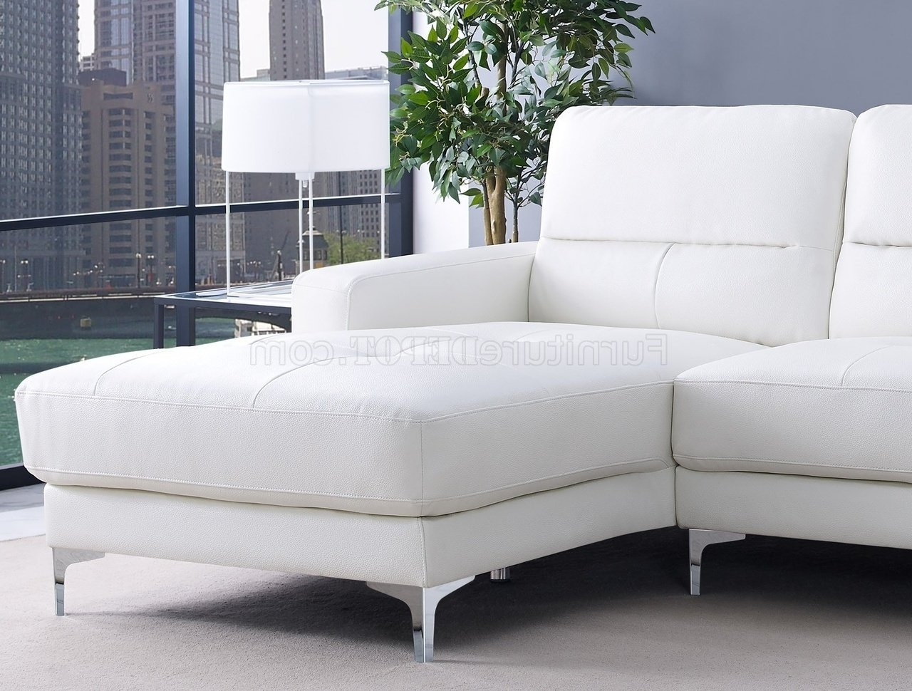 Widely Used Memphis Sectional Sofas Within Sectional Sofa In White Bonded Leatherwhiteline (View 14 of 15)