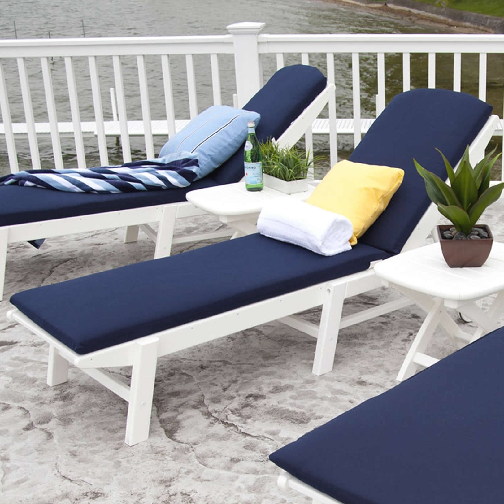 Widely Used Outdoor Cushions For Chaise Lounge Chairs Regarding Polywood Nautical Chaise Lounge Cushions (View 15 of 15)