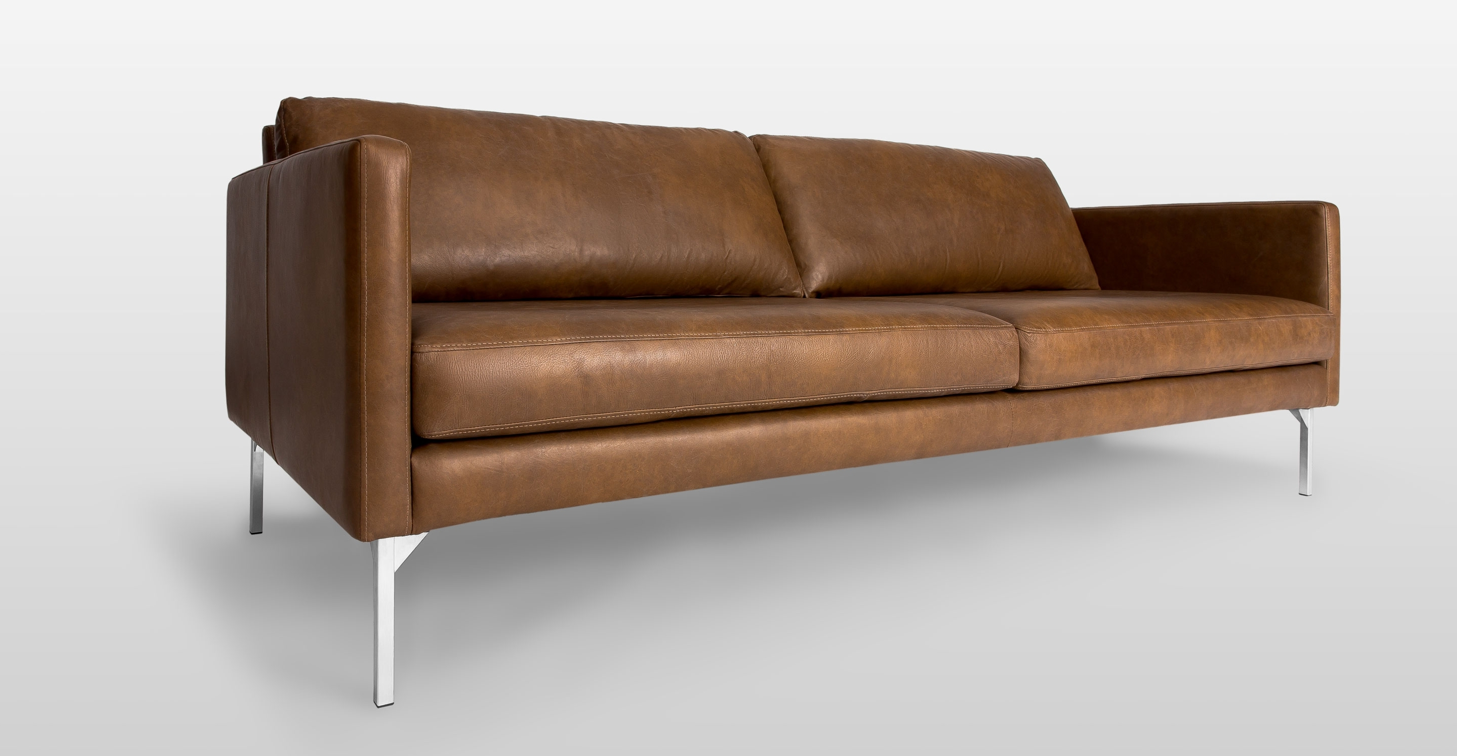 Widely Used Oxford Sofas Throughout Brown Leather Sofa With Metal Legs (View 15 of 15)