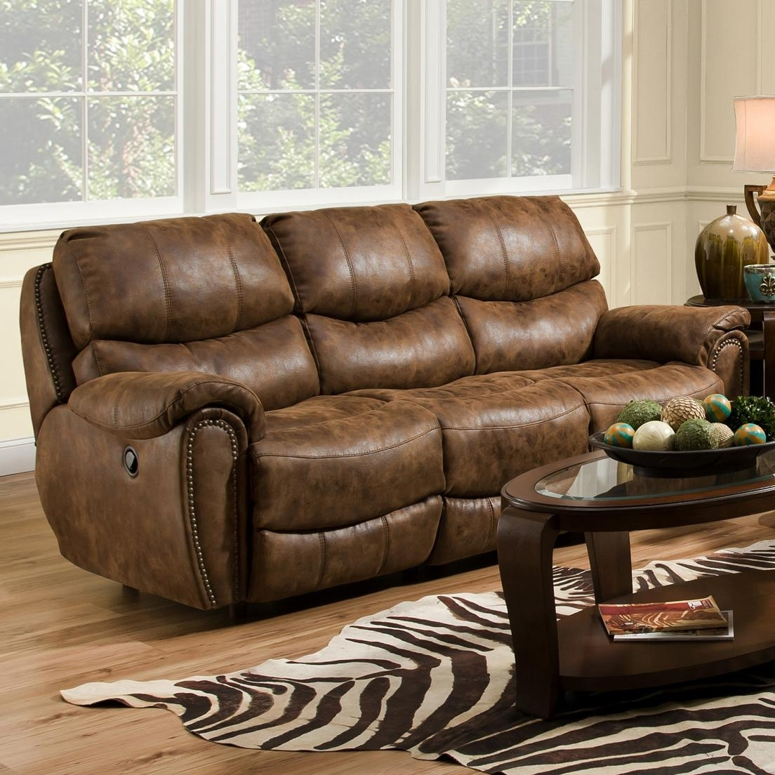 Widely Used Richmond Sofas With Regard To Reclining Sofa With Nail Head Trim – Richmondfranklin – Wilcox (View 8 of 15)