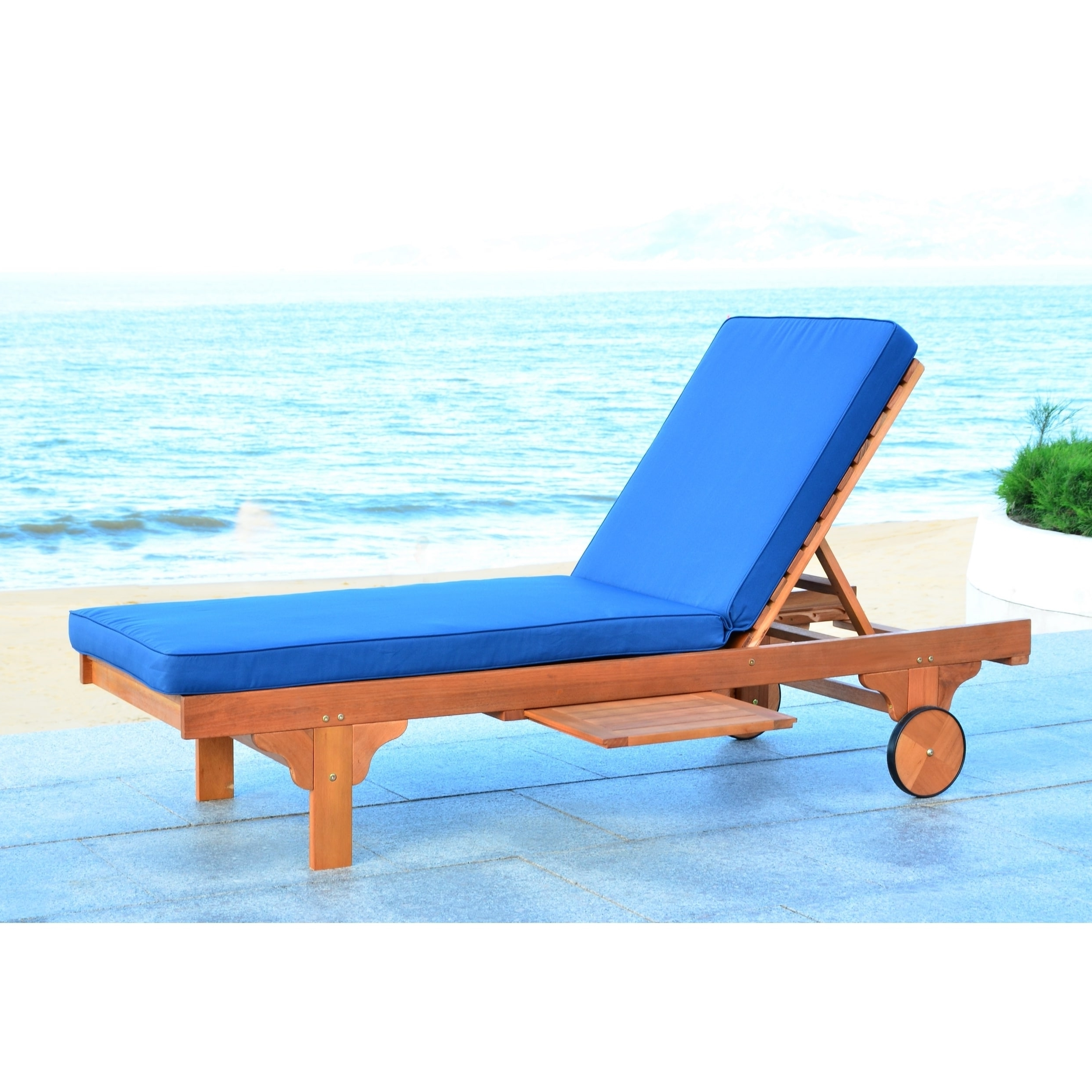 Widely Used Safavieh Outdoor Living Newport Brown/ Navy Adjustable Chaise With Regard To Newport Chaise Lounge Chairs (View 8 of 15)