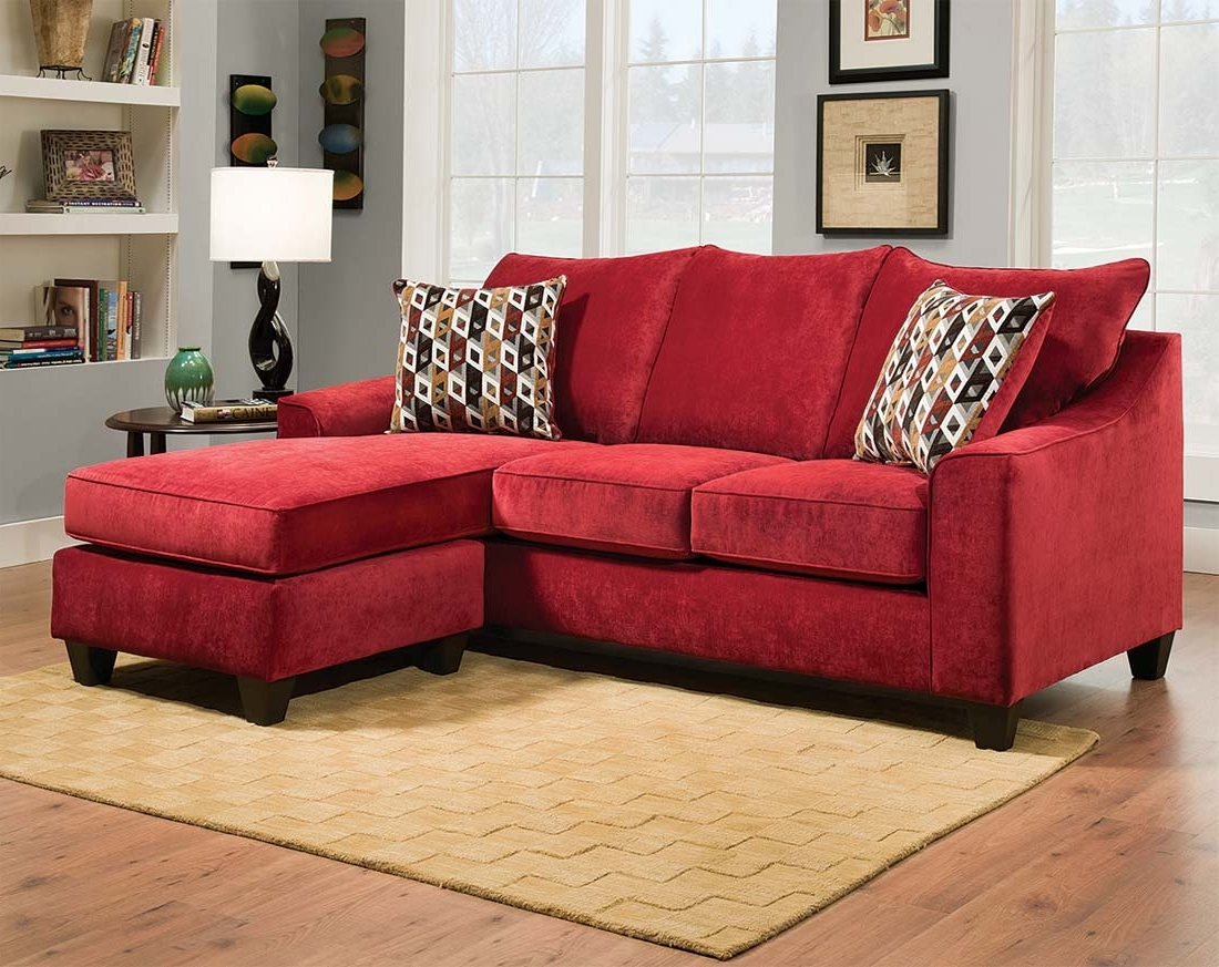 Widely Used Sectional Sofa Design: Wonderful Red Sectional Sofa With Chaise With Regard To Red Leather Sectionals With Ottoman (View 4 of 15)