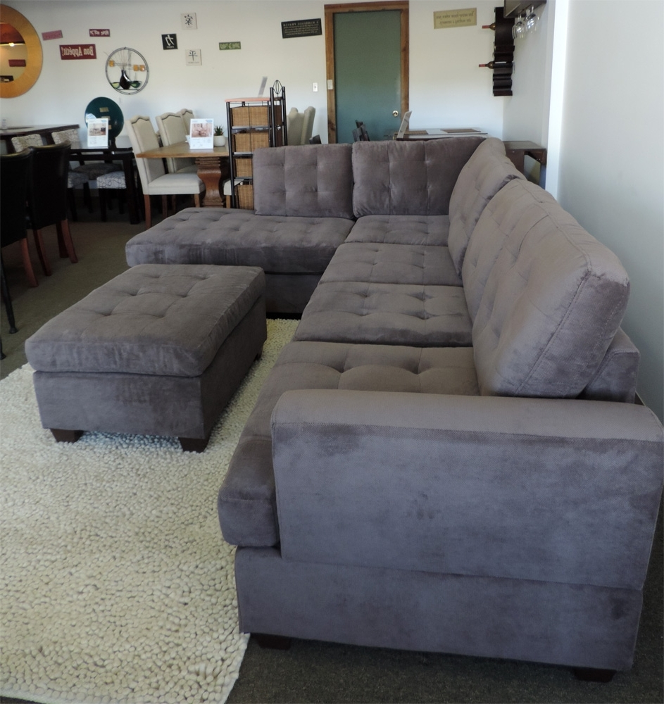 Widely Used Sectional Sofas In Canada With Regard To Burbank Charcoal Grey Waffle Suede Sectional Sofa With Right (View 3 of 15)