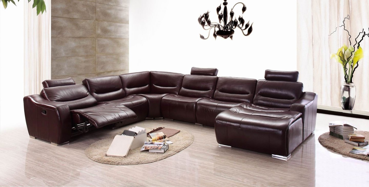 Widely Used Sectional Sofas With Recliners Leather In Amazon: Esf Modern 2144 Brown Italian Leather Sectional Sofa W (View 14 of 15)