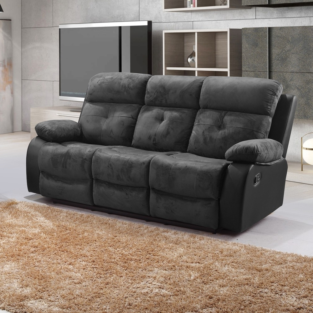 Widely Used Sofa : Keesling Fabric Recliner Sofa Cheap Fabric Recliner Sofas Regarding Faux Suede Sofas (View 15 of 15)