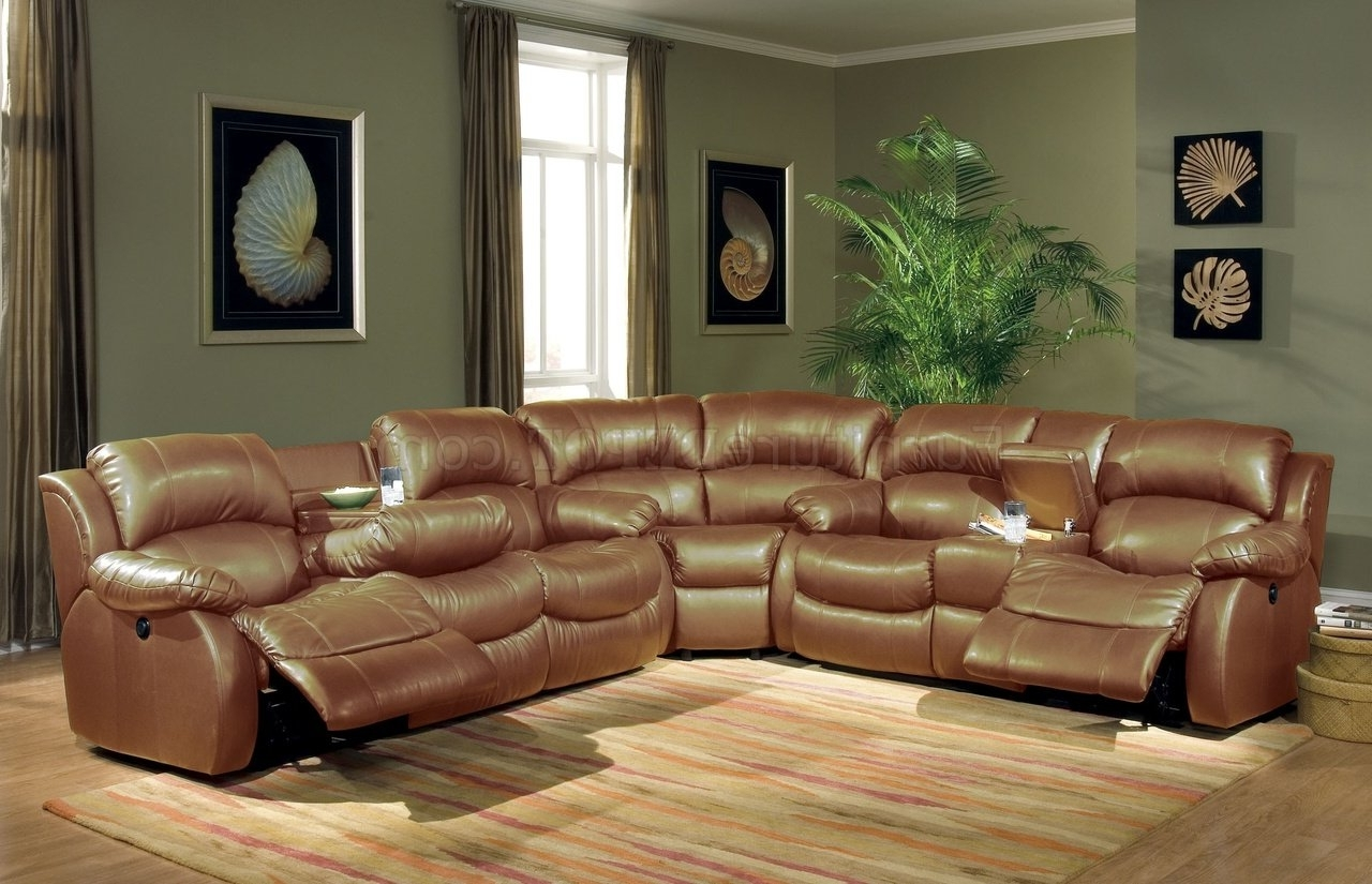 Widely Used Transitional Brown Bonded Leather Sectional W/recliner Mechanism For Sectional Sofas With Recliners Leather (View 5 of 15)