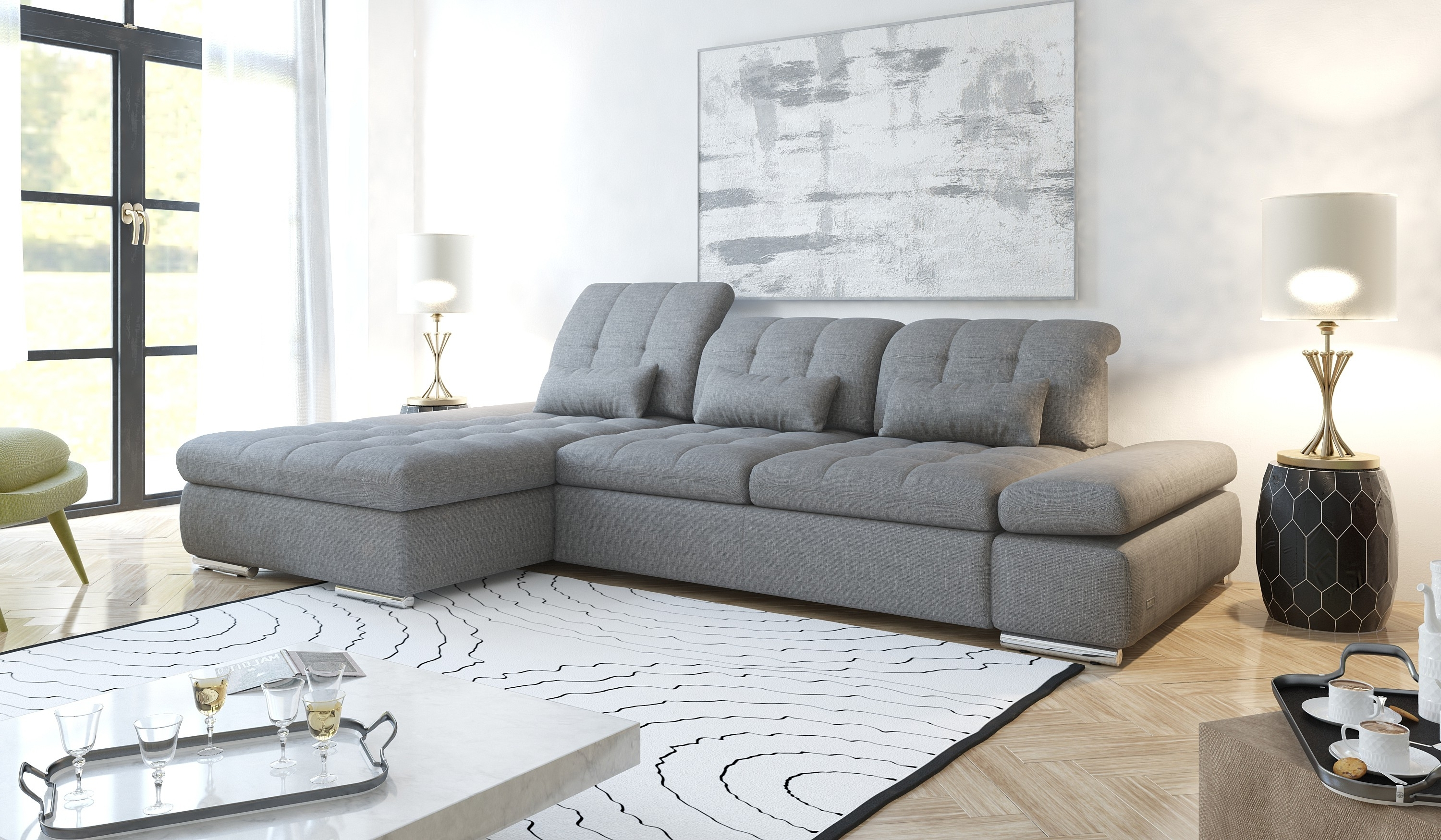 Widely Used Trinidad And Tobago Sectional Sofas In Alpine Sectional Sofa (View 3 of 15)