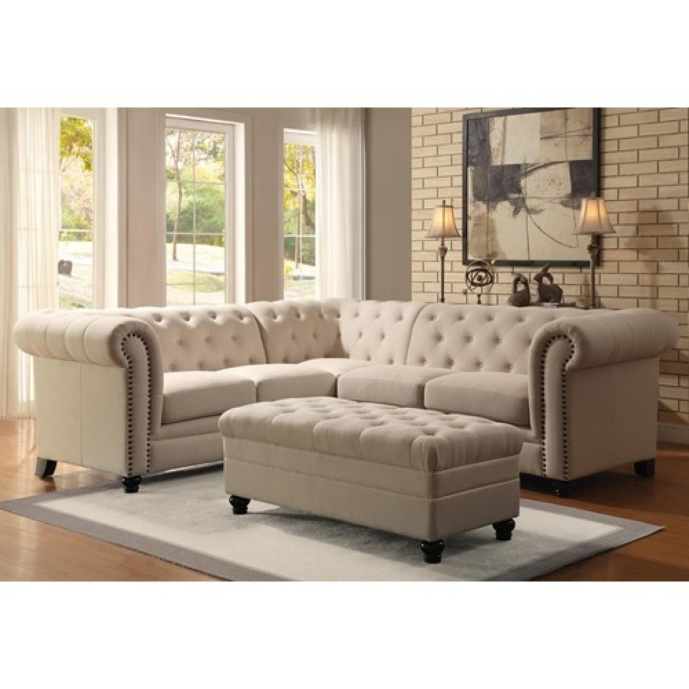 Widely Used Tufted Sectional Sofas Throughout Button Tufted Sectional Sofa (View 2 of 15)