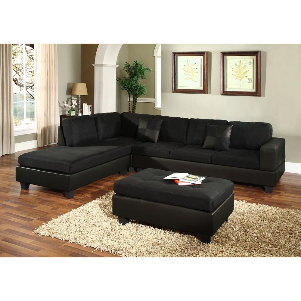 Widely Used Venetian Worldwide Dallin Black Microfiber Sectional Mfs0005 R Intended For Virginia Beach Sectional Sofas (View 15 of 15)