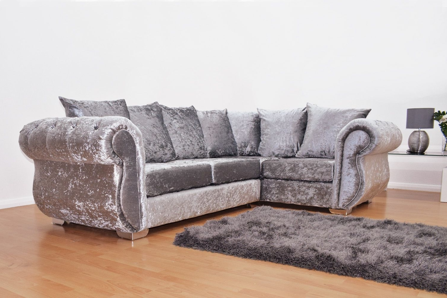 Windsor Double Arm Corner Sofa – Silver (View 10 of 15)