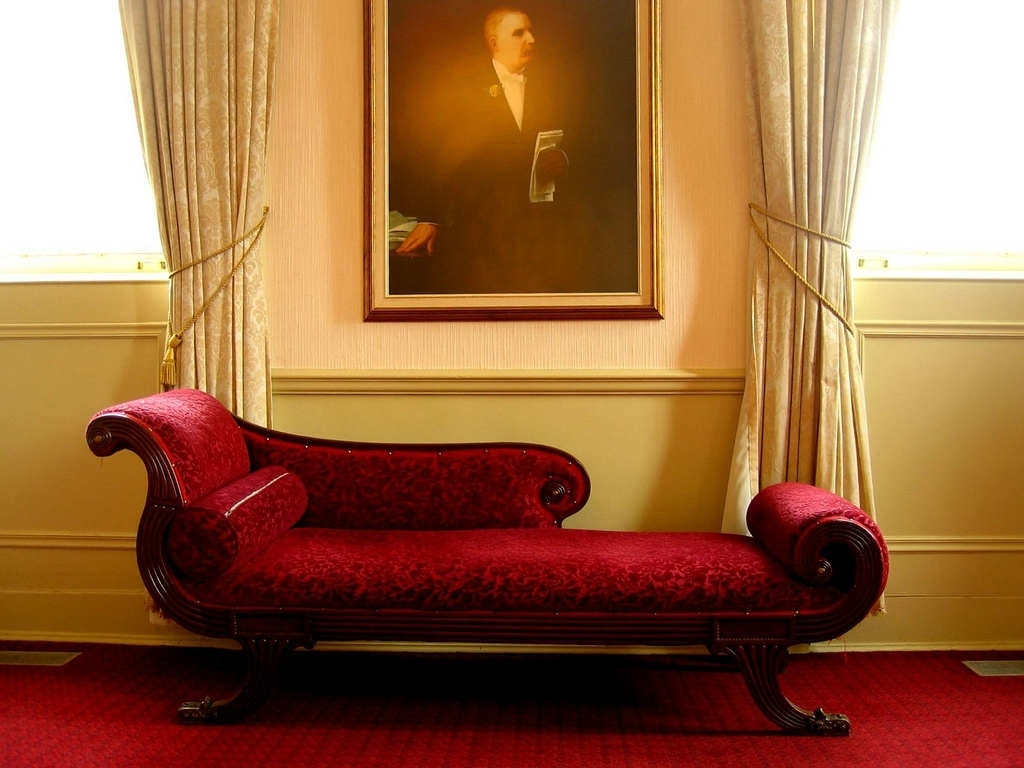 Wondrous Red Indoor Chaise Lounge Chair In Victorian Style Living With Most Popular Chaise Lounge Chairs For Living Room (View 15 of 15)