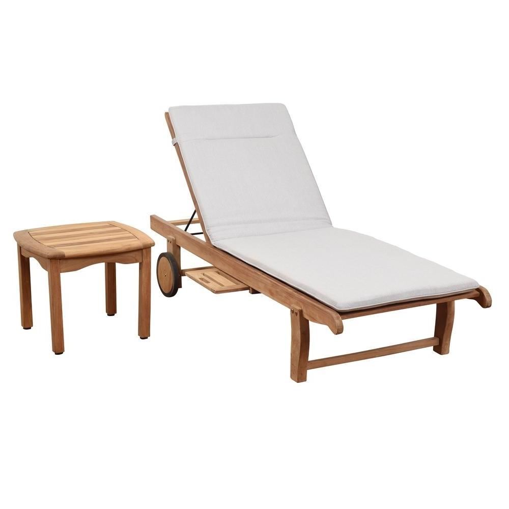 Wood Outdoor Chaise Lounges Within Popular Outdoor Chaise Lounges – Patio Chairs – The Home Depot (View 12 of 15)