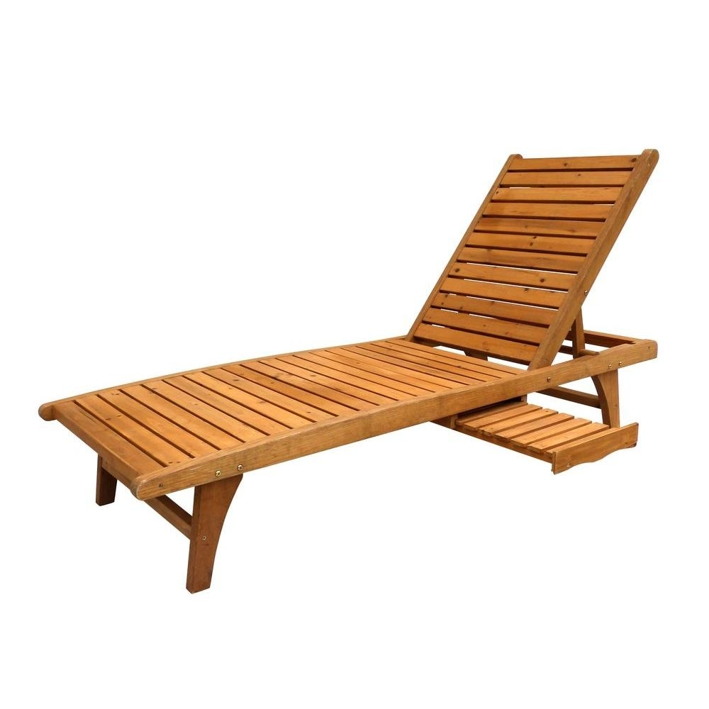 Wooden Chaise Lounges Inside Preferred Wood – Outdoor Chaise Lounges – Patio Chairs – The Home Depot (View 12 of 15)