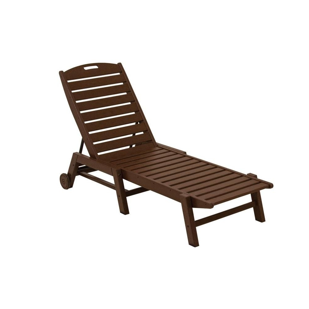 Wooden Chaise Lounges Intended For Famous Polywood Nautical White Wheeled Armless Plastic Outdoor Patio (View 2 of 15)