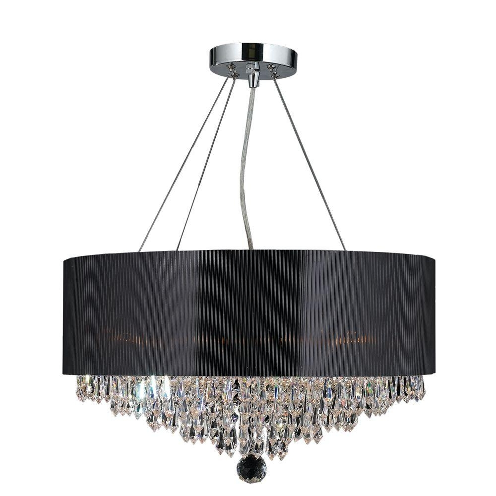 Worldwide Lighting Gatsby Collection 8 Light Polished Chrome And Intended For Trendy Chandeliers With Black Shades (View 9 of 15)