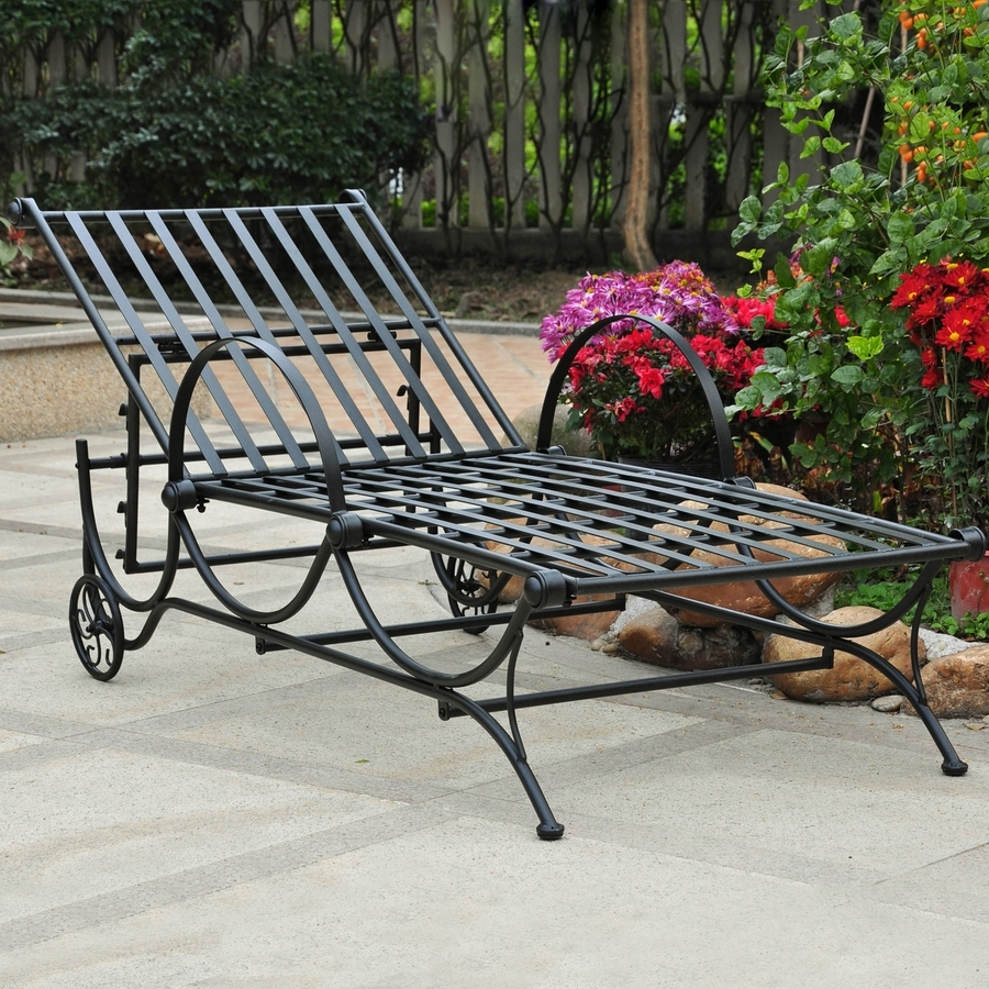 Wrought Iron Outdoor Chaise Lounge Chairs For Widely Used Shop International Caravan Patio Chaise Lounge Chair At Lowes (View 12 of 15)