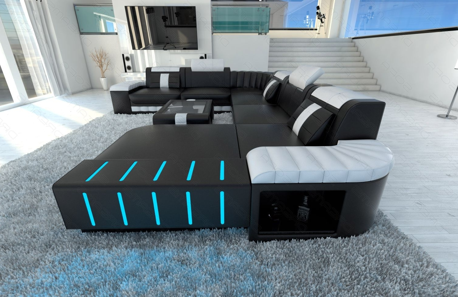 Xxl Sectional Sofa Bellagio Led U Shaped Black White (View 15 of 15)