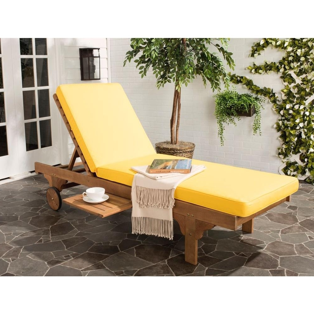 Yellow Chaise Lounge Chairs Regarding Trendy Safavieh Newport Teak Brown Outdoor Patio Chaise Lounge Chair With (View 2 of 15)