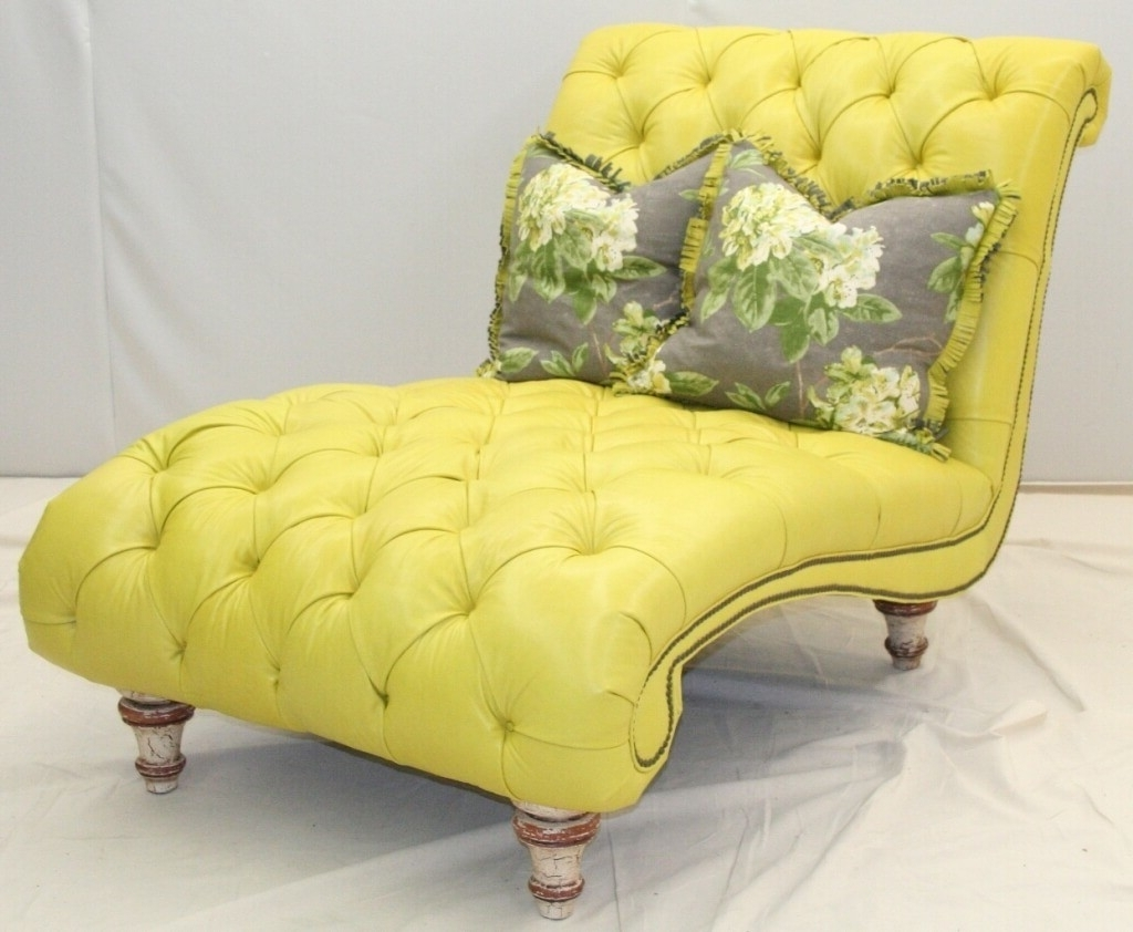 Yellow Chaise Lounges With Best And Newest Furniture: Oversized Yellow Tufted Chaise Bench With Two Floral (View 9 of 15)