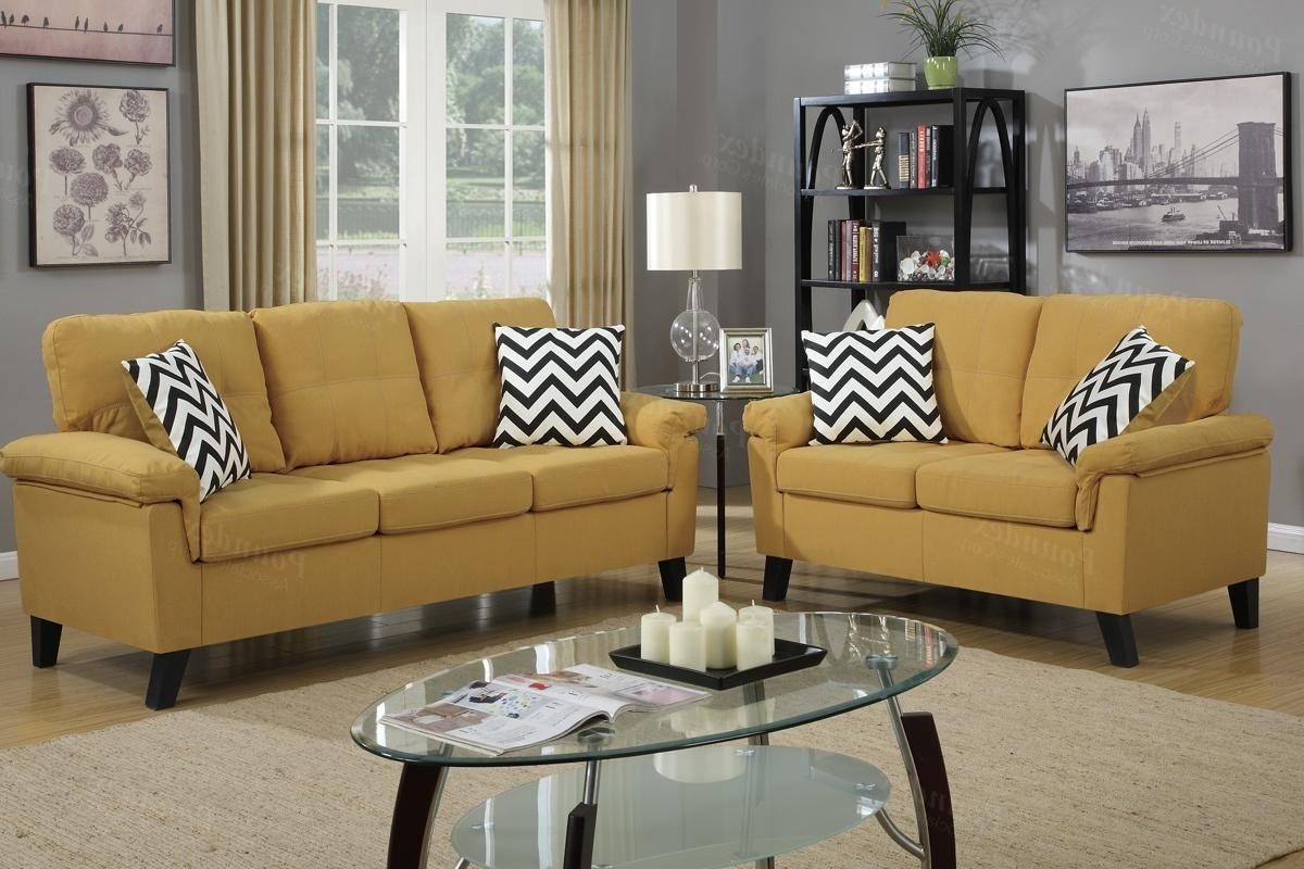 Yellow Fabric Sofa And Loveseat Set – Steal A Sofa Furniture With Regard To Well Known Yellow Sofa Chairs (View 14 of 15)