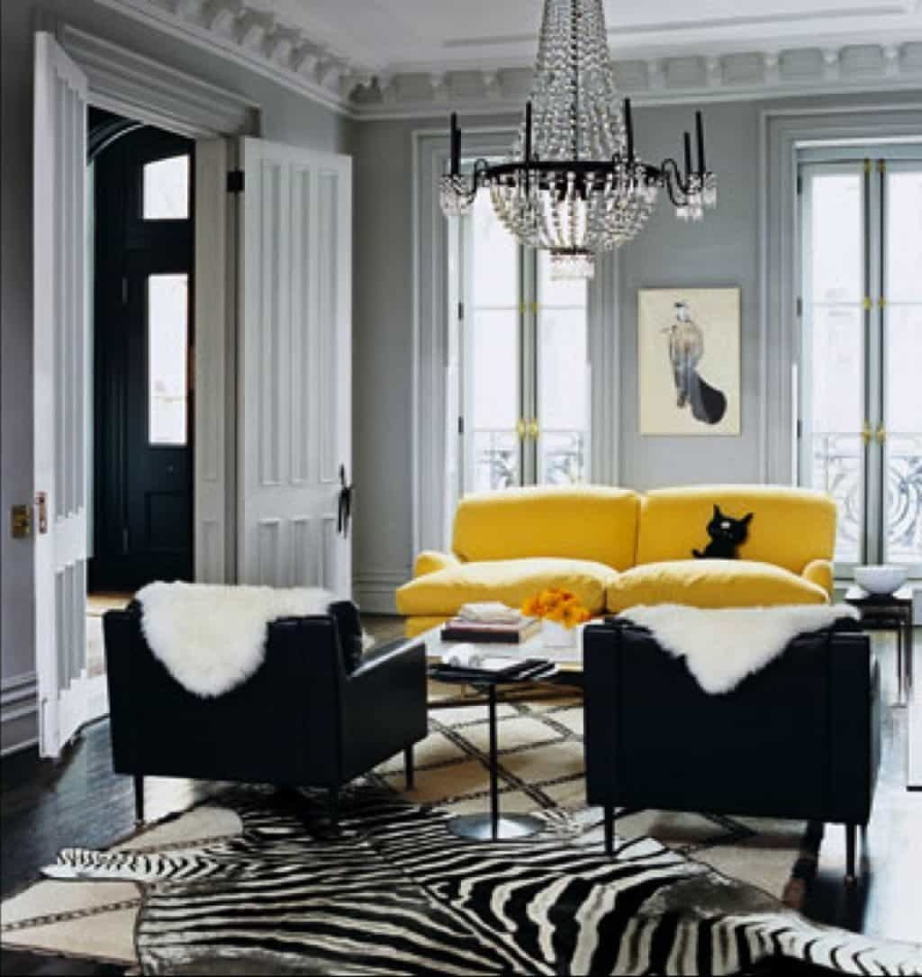 Yellow Sofa Chairs Intended For 2017 Gray Living Room With Yellow Sofa And Black Side Chairs – Popular (View 11 of 15)