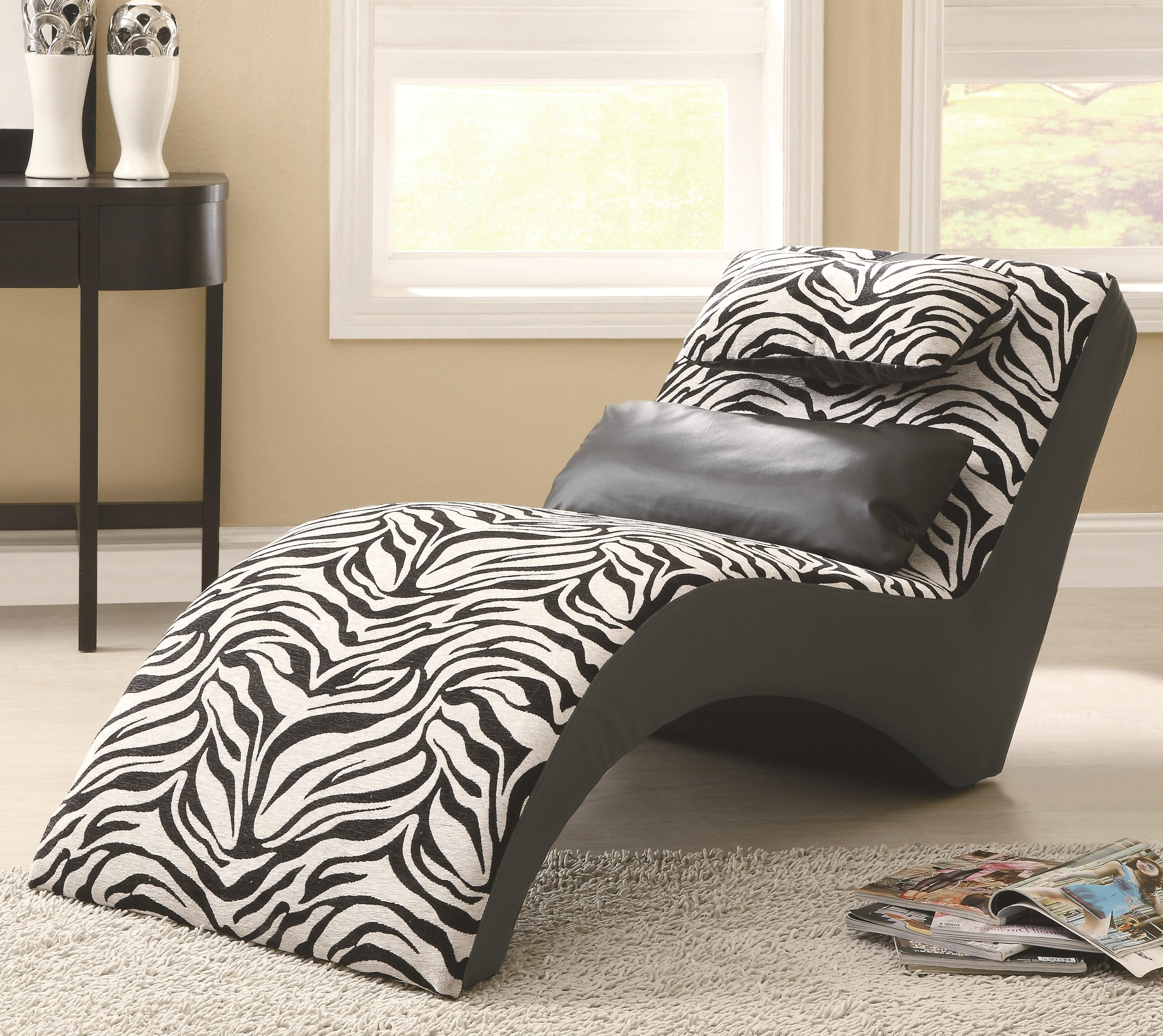 Zebra Print Chaise Lounge Chairs Within Latest Furniture : Modern Zebra Print Modern Lounge Chair Near Black (View 6 of 15)