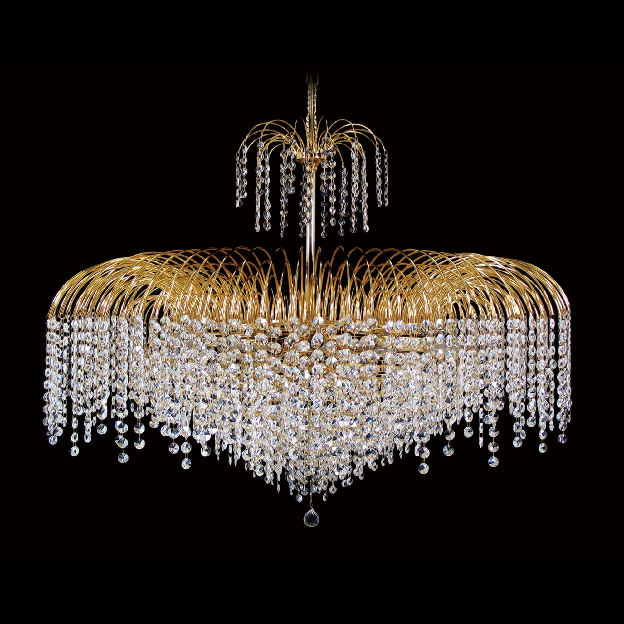 "15 Light – 32"" Asfour Lead Crystal 24Ct Gold Plated Waterfall Pertaining To Most Recent Lead Crystal Chandelier (View 8 of 15)"