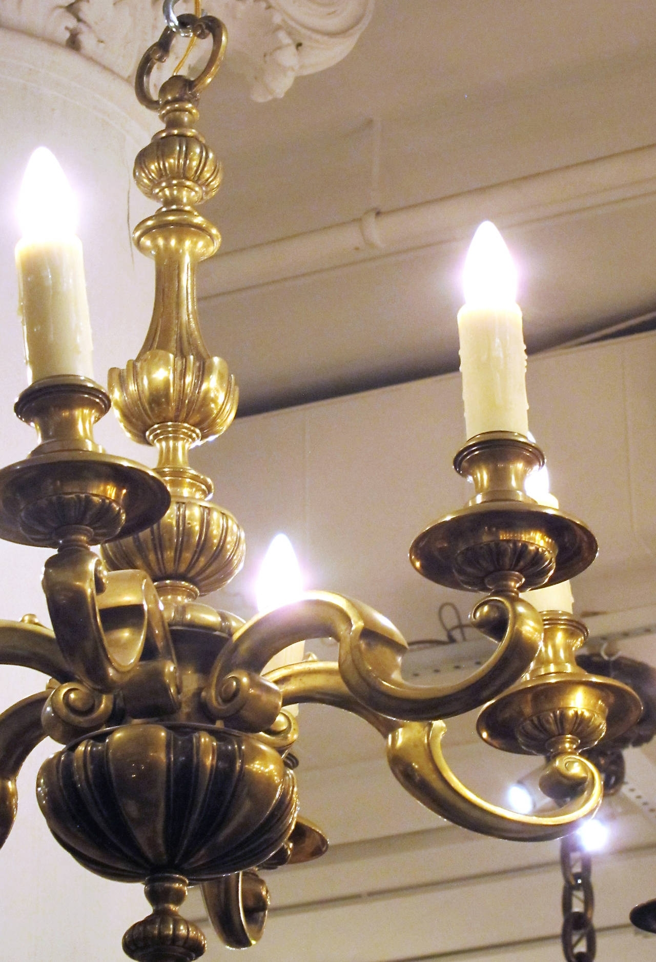 1920S English Bronze Georgian Style Six Light Chandelier For Sale At With Regard To Best And Newest Georgian Chandeliers (View 1 of 15)
