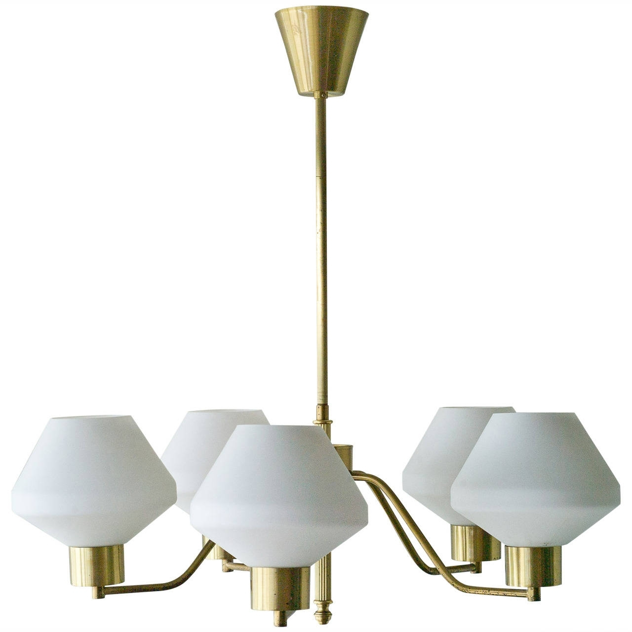 1950S Scandinavian Chandelier In Brass And Frosted Glass With Famous Scandinavian Chandeliers (View 1 of 15)