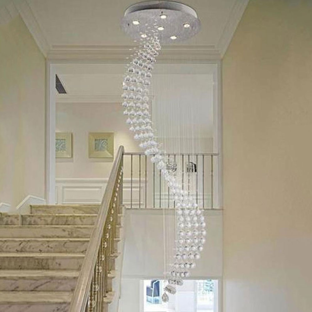 2017 50*200Cm Spiral Rain Drop Chandelier Modern Crystal Chandeliers In Staircase Chandeliers (View 12 of 15)