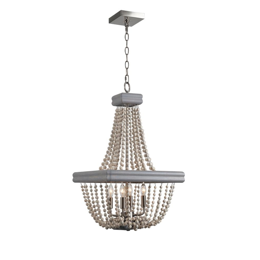 2017 Kenroy Home Drape 4 Light Grey Chandelier 93914Gry – The Home Depot In Grey Chandeliers (View 15 of 15)