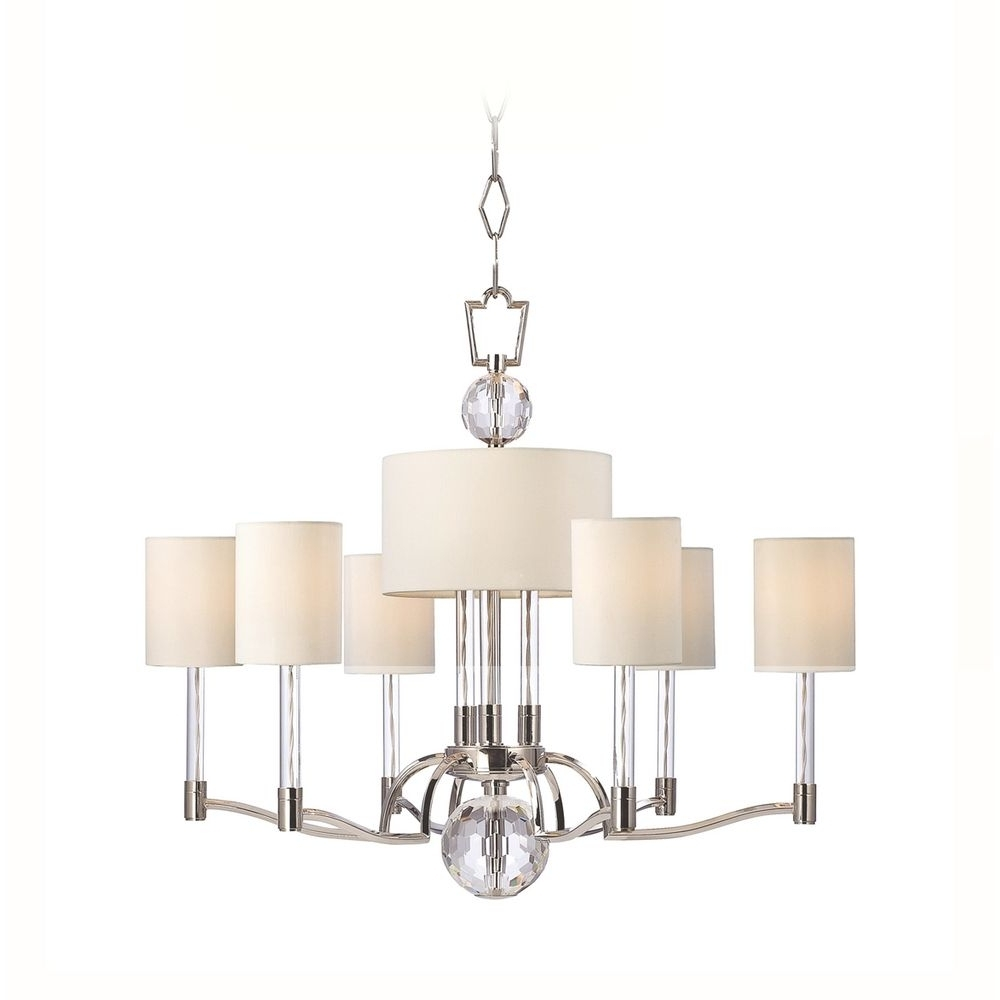 2017 Modern Chandelier With White Shades In Polished Nickel Finish (View 9 of 15)