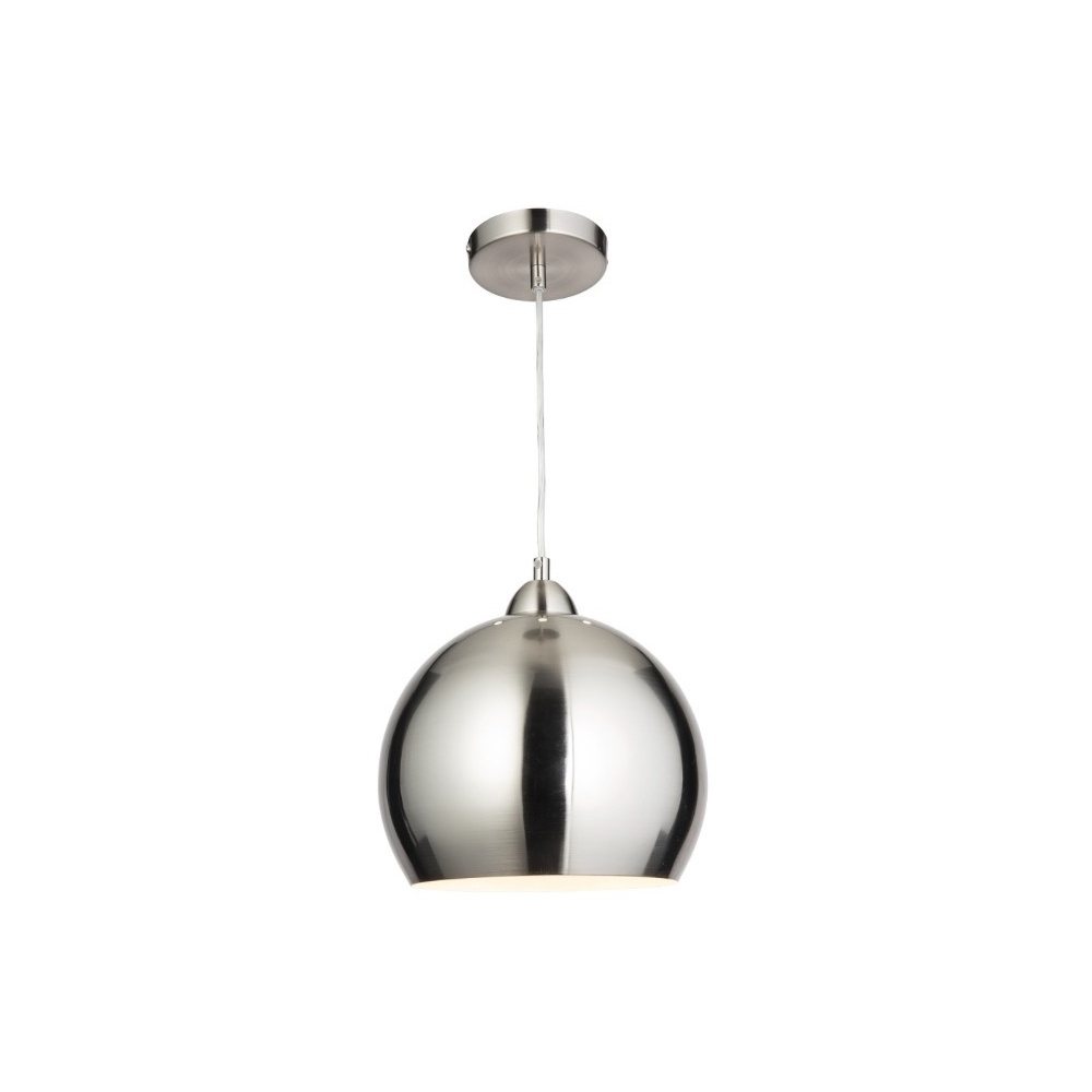 2017 Modern Chrome Chandeliers With Thlc Modern Globe Cafe Pendant Light In Satin Chrome – Lighting From (View 11 of 15)