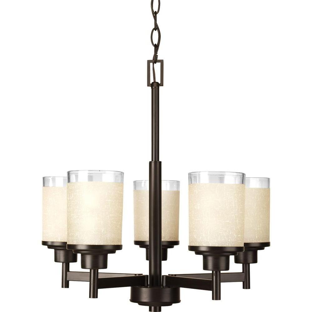 2017 Progress Lighting Alexa Collection 5 Light Antique Bronze Chandelier For Linen Chandeliers (View 1 of 15)