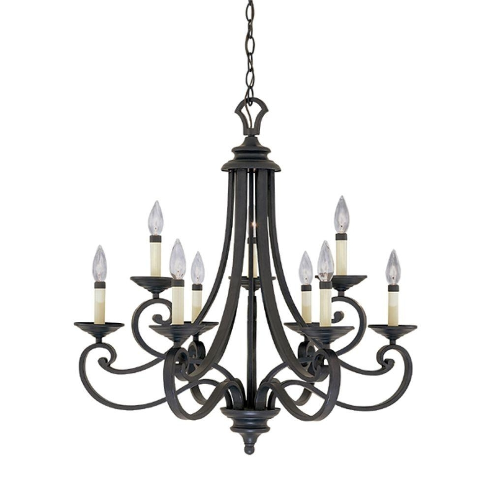 2018 Designers Fountain Monte Carlo 9 Light Hanging Natural Iron With Regard To Iron Chandelier (View 1 of 15)