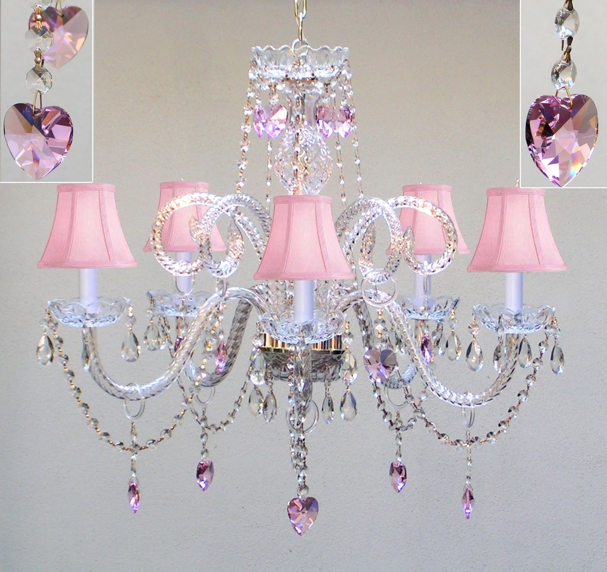 2018 For A Little Girls Room! A46 Sc/387/5/pinkhearts Chandeliers Inside Purple Crystal Chandeliers (View 1 of 15)