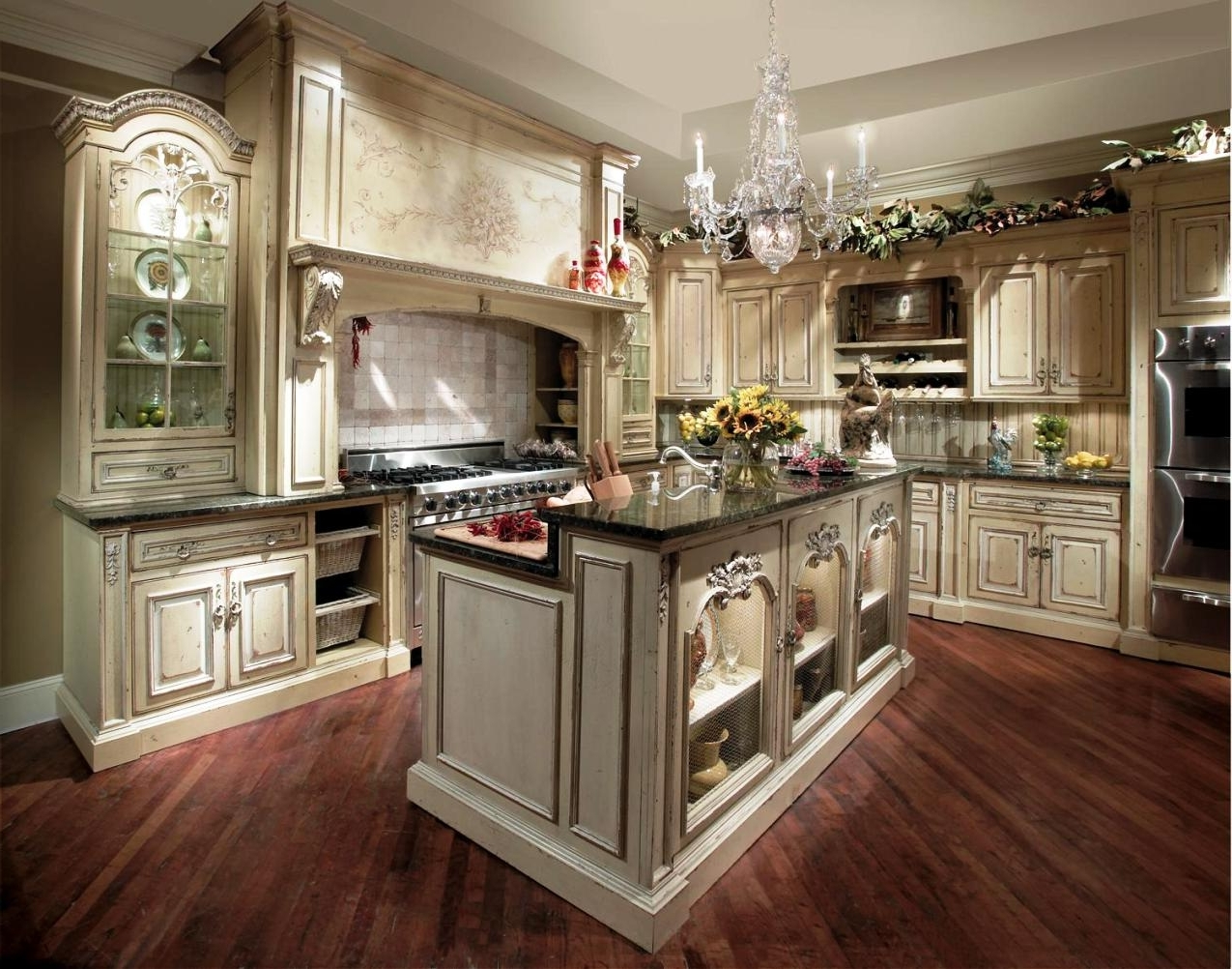 2018 French Country Chandeliers For Kitchen Within Traditional French Country Kitchen With High Quality Hardwood (View 14 of 15)